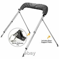 3 BOW BIMINI BOAT COVER TOP 54-60 WithBOOT GRAY COVERS 6' FT + Rear Support Arms