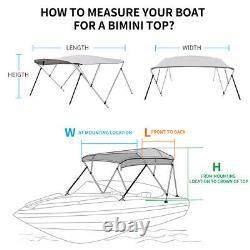 3 BOW BIMINI TOP BOAT COVER 67-72 WIDTH 6 FT LONG Gray + Rear Support Arms
