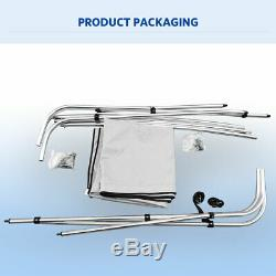 3 Bow 600D Bimini Top Boat Cover 46 High 79-84 W 6' Length With Rear Poles Gray