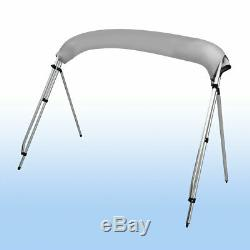 3 Bow 600D Bimini Top Boat Cover 6'L x 61-66 W 46 High With Rear Poles Gray