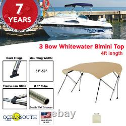 3 Bow BIMINI TOP Boat Cover 51 57 Width, 4ft Long Sand with Support Poles