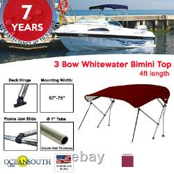 3 Bow BIMINI TOP Boat Cover 69 75 Width, 4ft Long Maroon with Support Poles