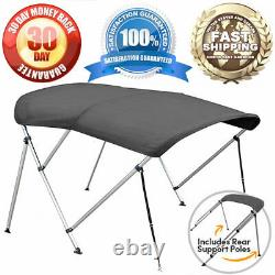 3 Bow Bimini Boat Cover 6' Ft Top with Boot Gray Covers Includes Hardware 1 Tubes