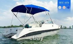 3 Bow Bimini Boat Top Cover Cover Boat Canopy with Support Pole Boot Grey 73-78