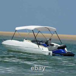 3 Bow Bimini Top Canopy Boat Roof Cover Awning Sun Shade with Frame White
