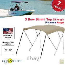 3 Bow Bimini Top PREMIUM RANGE 73 78 Width, 6ft Long Sand with Rear Poles