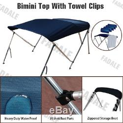 3 Bow Boat Bimini Top 6ft Canopy Cover 61''-66'' Free Clips Support Poles PB3N1