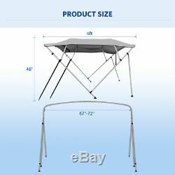 3 Bow Boat Bimini Top Canopy Cover 6 ft 67''-72'' Sun Shade + Rear Support Arms