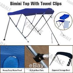 3 Bow Boat Bimini Top Canopy Cover Free Clips 6 ft 73''-78'' Sun Shade PB3N3