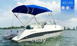 3 Bow Boat Bimini Top Cover Boat Canopy Shade with Support Pole Boot Beige 61-66