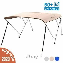 3 Bow Boat Bimini Top Cover Boat Canopy Shade with Support Pole Boot Beige 73-78