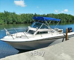3 Bow Boat Bimini Top Cover Boat Canopy Shade with Support Pole Boot Blue 61-66