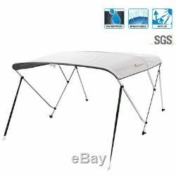3 Bow Boat Bimini Tops Boat Canopy Boat Shade with Support Pole Boot Grey 61-66