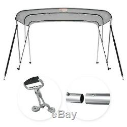 3 Bow Boat Bimini Tops Boat Canopy Sun Shade with Support Pole Boot Grey 67-72