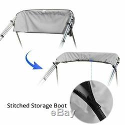 3 Bow Boat Bimini Tops Boat Canopy Sun Shade with Support Pole Boot Grey 73-78