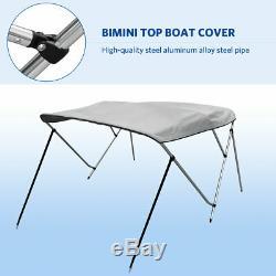 3Bow 600D Premium Boat Bimini Top Cover 6'L 73''-78''W 46H Waterproof Gray