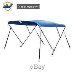 3Bow Bimini Boat Top Cover with storage boot, Pacific Blue, 6'L x 46H x85-90W