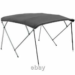 4 BOW BIMINI PONTOON DECK BOAT COVER TOP 54-60 GRAY 8' FT + Rear Support Poles