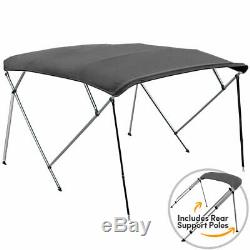 4 BOW BIMINI PONTOON DECK BOAT COVER TOP 91-96 GRAY 8' FT + Rear Support Poles