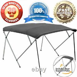 4 Bow Bimini Pontoon Deck Boat Cover Top 61-66 Gray 8' Ft Includes Hardware