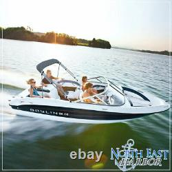 4 Bow Bimini Pontoon Deck Boat Cover Top 91-96 Gray 8' Ft Includes Hardware