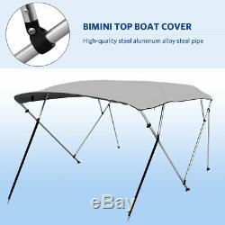 4 Bow Bimini Top Boat Cover 54 High x 8' L x 67-72 W 600D Oxford Fabric Gray