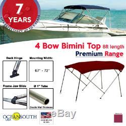 4 Bow Bimini Top PREMIUM RANGE 67 72 Width, 8ft Long Maroon with Rear Poles