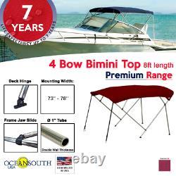 4 Bow Bimini Top PREMIUM RANGE 73 78 Width, 8ft Long Maroon with Rear Poles