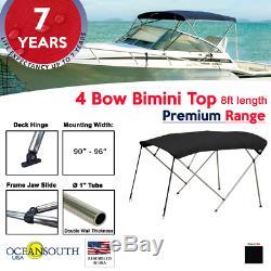 4 Bow Bimini Top PREMIUM RANGE 90 96 Width, 8ft Long Black with Rear Poles