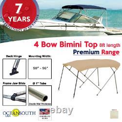 4 Bow Bimini Top PREMIUM RANGE 90 96 Width, 8ft Long Sand with Rear Poles
