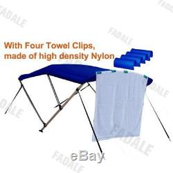 4 Bow Boat Bimini Top Canopy Cover 8 ft Free Clips 79''-84'' Support Poles PB4N1