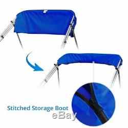 4 Bow Boat Bimini Top Cover Boat Canopy Shade with Support Pole Boot Blue 73-78