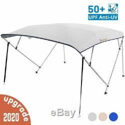 4 Bow Boat Bimini Top Cover Boat Canopy Shade with Support Pole Boot Grey 79-84