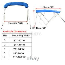 600D BIMINI TOP 4 Bow Boat Cover 54 H 67-103 Wide 8ft Long with Rear Poles US