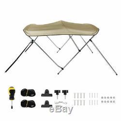 67-72 Bimini Top Boat Roof Cover 3 Bow 6ft Long 46 High 600D Anti-UV Beige