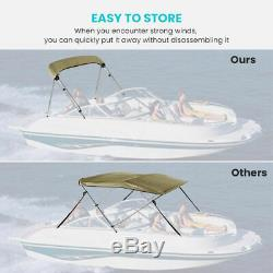 73-78'' Bimini Top Boat Roof Cover 3 Bow Canopy 6ft Long 46 High 600D Beige