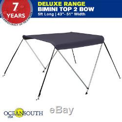 BIMINI TOP 2 Bow Boat Cover Blue 43-45 With Integrated protective Cover