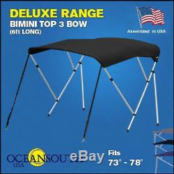BIMINI TOP 3 Bow Boat Cover Black 73-78 Wide 6ft Long With Rear Poles