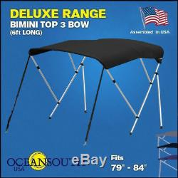 BIMINI TOP 3 Bow Boat Cover Black 79-84 Wide 6ft Long With Rear Poles