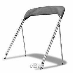 BIMINI TOP 3 Bow Boat Cover Gray 73-78 Wide 6ft Long With Rear Poles