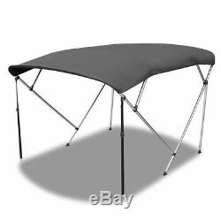 BIMINI TOP 4 Bow Boat Cover Gray 85-90 Wide 8ft Long With Rear Poles