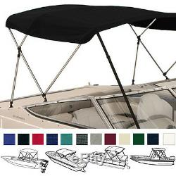 BIMINI TOP BOAT COVER BLACK 3 BOW 72L 54H 73-78W With BOOT & REAR POLES