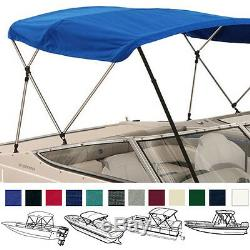 BIMINI TOP BOAT COVER BLUE 3 BOW 72L 36H 91-96W With BOOT & REAR POLES