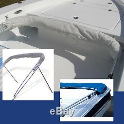BIMINI TOP BOAT COVER BLUE 3 BOW 72L 54H 73-78W With BOOT & REAR POLES