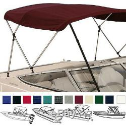 BIMINI TOP BOAT COVER BURGUNDY 3 BOW 72L 46H 73-78W With BOOT & REAR POLES