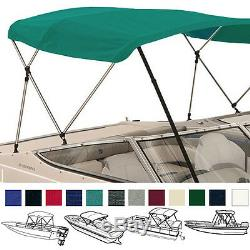BIMINI TOP BOAT COVER TEAL 3 BOW 72L 36H 61-66W With BOOT & REAR POLES