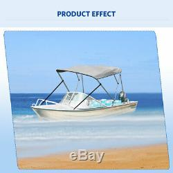 BIMINI TOP BOAT COVERS 73-78 WIDE 3 BOW 6 FT 600D Gray + Rear Support Poles