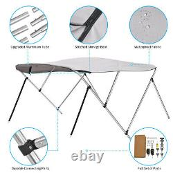 BIMINI TOP Gray 3 Bow Boat Cover 79-84 Wide 6ft Long With Rear Poles