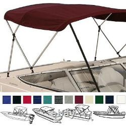 BOAT BIMINI TOP COVER 3 BOW 72L 54H 73-78W With BOOT & REAR SUPPORT POLES