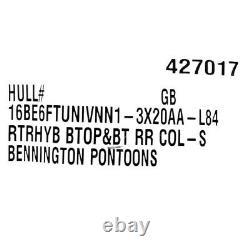 Bennington Pontoon Boat Bimini Top 16BE6FTUNIVNN1-3X20AA-L84 Retractable Gray